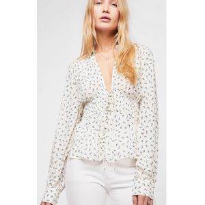 Free People Colette Printed Button Down Top Ivory
